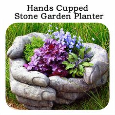 Cool Looking Hands Cupped Stone Garden Planter