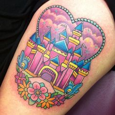 ✨✨ Magical one-sit #disneycastle thigh piece for gorgeous Adriana this arvo, who sat like an absolute angel. My take on the happiest place on earth. Thanks for giving this design a home, I loved bringing it to life!  #disneycastletattoo #inkeddisney #disneytatts #disneytattoo #pinkflamingoparlour