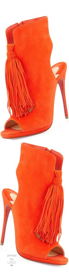 Christian Louboutin Ottaka Suede Fringe Open-Toe Red Sole Bootie, Cappucine | LOLO❤︎