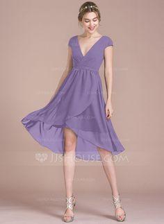 9c4132f25a439 A-Line/Princess V-neck Asymmetrical Chiffon Bridesmaid Dress (007105586) -
