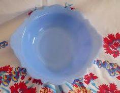 vintage blue milk glass -
