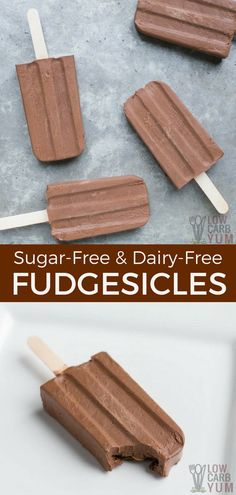 Beat the heat with some frozen treats. Here's how to make sugar free fudgesicles that taste great but only have 5 grams of net carbs. And, they are dairy-free! #lowcarb #sugarfree #keto #dairyfree #fudgesicles | LowCarbYum.com via @lowcarbyum