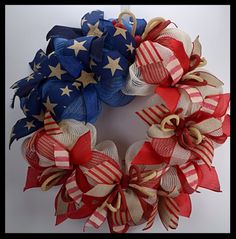 Beautiful Burlap Flag Patriotic Wreath from www.facebook.com/overthetopwreaths