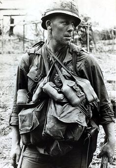 March 1966, Bong Son, South Vietnam -- A typical soldier of the U.S. 1st Cavalry showing the amount of gear carried during the conflict
