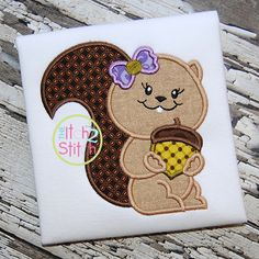 I2S Squirrel Acorn Girl Applique design