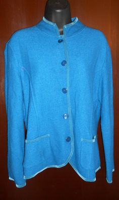 Talbots 100% Merino Wool Medium Teal Blue Sweater Jacket Velvet Trim #Talbots #BasicJacket