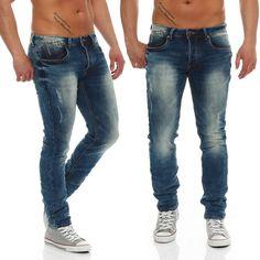 One Public Jeans Herren Hose OneP Jeansnet Destroyed Used Slim Fit Blau 9016