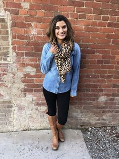 This classic combination of a hint of leopard, classic denim chambray shirt and the black pants and cognac penny boots is a great look for everyday or for work! These great basic items can be worn s Chambray Shirt Outfits, Casual Outfits, Cute Outfits, Fashion Outfits, Denim Shirts, Paris Outfits, Fashion Scarves, Mom Outfits, Hijab Fashion