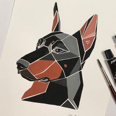 Triangle Drawing, Triangle Art, Geometric Stencil, Geometric Drawing, Animal Drawings, Art Drawings, Colley, I Love You Drawings, Polygon Art