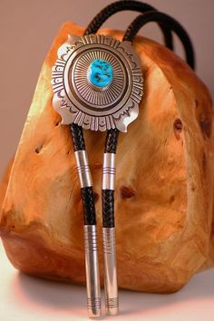 Navajo – Large Sterling Silver Overlay Sleeping Beauty Turquoise Bolo Tie with Matching Tips by Tommy Singer