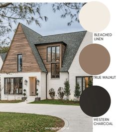 Modern Farmhouse Style Exterior Paint Colors - - Paint your home's exterior with confidance with these modern farmhouse exterior paint color combinations. Perfect for new build construction or renovations! Farmhouse Exterior Colors, Farmhouse Paint Colors, Exterior Paint Colors For House, Paint Colors For Home, Diy Exterior House Painting, Exterior Paint Ideas, House Ideas Exterior, Cabin Exterior Colors, Outside House Paint Colors