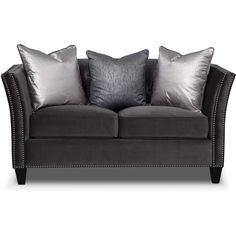Nicole Charcoal Loveseat (3.340 BRL) ❤ liked on Polyvore featuring home, furniture, sofas, grey, loveseat, sofa, diamond sofa, dark grey couch, charcoal grey sofa and nailhead sofa