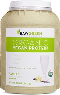 Raw Green Organics  Organic Vegan Protein  Vanilla  All Natural Blend  30 oz 840 Grams ** Want additional info? Click on the image.