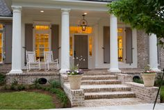 Interesting Porch Lights for Exterior Home : New Orleans Designer For Traditional Porch With Porch Colors And Brick Porches Also Porch Lights With White Ceiling Plus Recessed Lighting And Window Shutters