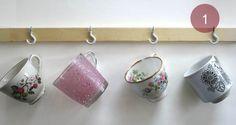 wood + hooks + mug = space saving mug rack