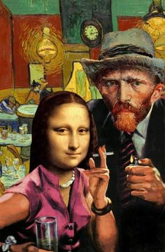 Tagged with Funny; Shared by mona Lisa and van gogh. collage by Barry kite Arte Pop, Collages, Art Du Collage, Mona Lisa Parody, Photocollage, Art Plastique, Funny Art, Vincent Van Gogh, Medium Art
