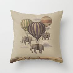 Flight of the Elephants  Throw Pillow by Terry Fan - $20.00... When the time comes... an elephant/ travel nursery it shall be!