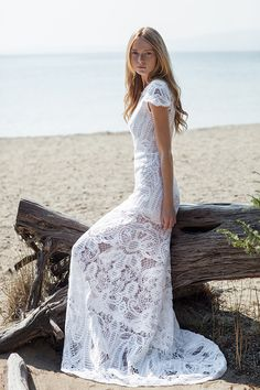 Beautiful wedding gown in cotton lace and featuring an illusion neckline and cap sleeves. Christos Costarellos wedding dresses | 2016 Bridal Collection - Love4Wed