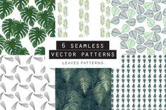Leaves Seamless Patterns Set of 6 by Youandigraphics on Graphic Patterns, Cool Patterns, Textures Patterns, Graphic Design, Vector Pattern, Pattern Design, Leaf Prints, Summer Fun, Custom Design