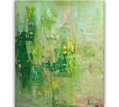 Green Textured Abstract Painting Acrylic 48 x 40 by OsnatFineArt