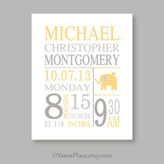 Baby Stats print baby boy girl nursery wall art by YassisPlace, $18.00