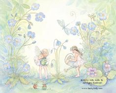 Watering the Garden, 8 X10 Print,  Fairy Art, Print, girls room art, fairy with periwinkle blues, with hand painting, art   by Becky Kelly