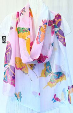For the full hand painted silk Scarf collection, visit us at: www.silktakuyo.com Made to order ------------------------------------------------------------------------------------- This hand painted silk scarf is a made to order item. Your new scarf will be recreated and will be