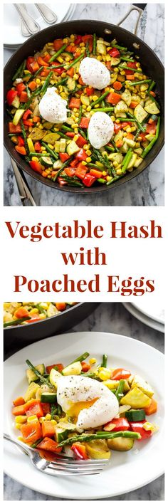 Vegetable Hash with Poached Eggs | An easy to make hash full of vegetables! Vegetarian, low carb, & gluten free.