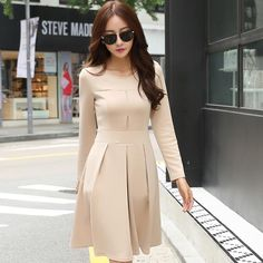 2017 New Arrival Korean Women Winter Autumn Dress Solid Long Sleeve Knee Length Draped Casual/Formal Office Dress  AW507 #Affiliate