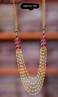 Gorgeous one gram gold long haaram with multi layer beads chains. - Gorgeous one gram gold long haaram with multi layer beads chains. Pearl Necklace Designs, Jewelry Design Earrings, Bead Jewellery, Fancy Jewellery, Pearl Necklaces, Pearl Jewelry, Stone Jewelry, Jewelry Shop, Fashion Jewelry