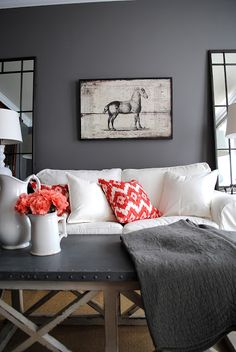 The Graphics Fairy - DIY: My House - The Living Room. That table. I love the pop of coral too.