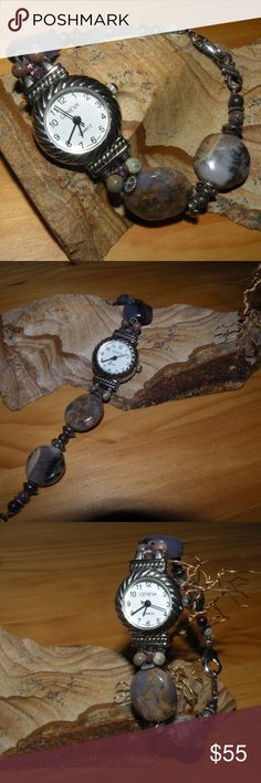 """Gemstone Watch Handmade Jasper Stones Handmade gemstone watch For a more petite wrist approx. 6.5"""" to 7"""" However, i can add an extender if desired Beautiful jasper beads with colors of muted purples and taupes Smoke Free home Sparkles Jewelry & Gifts Accessories Watches"""