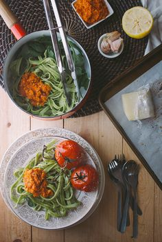 fresh spinach pasta + roasted carrot pesto