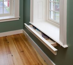 Sneaky pull-out drawer hidden in a window ledge. What do you think?