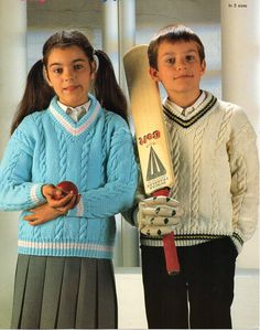 "childrens cricket sweater knitting pattern PDF DK v neck cable jumper 26-34"" DK light worsted 8ply childrens knitting pattern pdf download by Minihobo on Etsy"