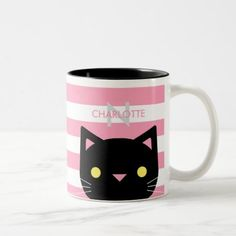 Cute Black Cat Custom Name & Initial Two-Tone Coffee Mug - click/tap to personalize and buy