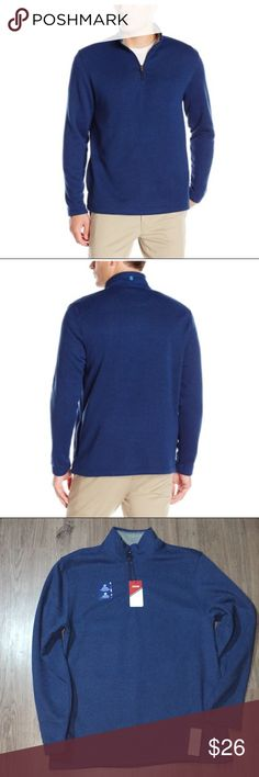 IZOD Spectator 1/4 Zip Fleece Sweater Peacoat Blue Brand New with Tag. Peacoat Heather Blue. Soft Fleece Sweater, machine washable. 👍Posh Ambassador  🌟Top Rated seller⚡️Fast shipper😘 Offers are welcomed ❣️No Trade Izod Sweaters Zip Up