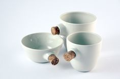 najs-cork-tereza-severynova-01 Kitchens To Go, Number 3, Cork, Beverages, Porcelain, Pottery, Simple, Tableware, Design
