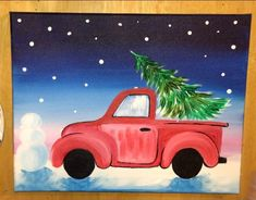 68 Ideas For Christmas Tree Painting Step By Step Burlap Christmas Tree, Christmas Canvas, Christmas Truck, Christmas Tree Themes, Christmas Art, Christmas Ideas, Christmas Traditions, Christmas Ornaments, Christmas Doodles