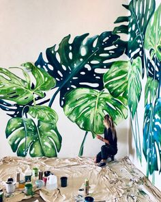 Wall Painting Decor, Plant Painting, Mural Wall Art, House Painting, Balkon Design, Floor Murals, Murals Street Art, Style Deco, Paint Designs