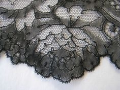 hand made Chantilly bobbin lace. point ground lace