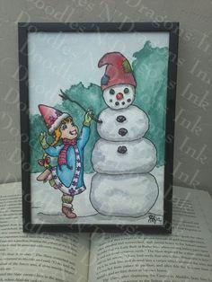 Original Snow Gnome Illustration by DoodlesNDragonsInk on Etsy, $35.00