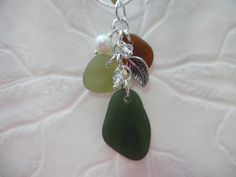 Teal Sea Glass Necklace Beach Glass Jewelry Pearl Sterling Pendant Fall Colors