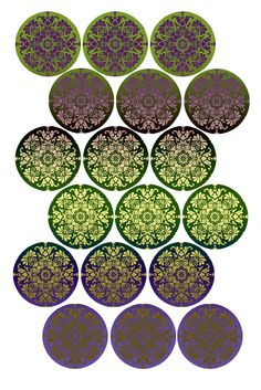 """""""Royal Brocade""""  Bottle cap image pack  Formatted for printing on 4"""" x 6"""" photo paper"""