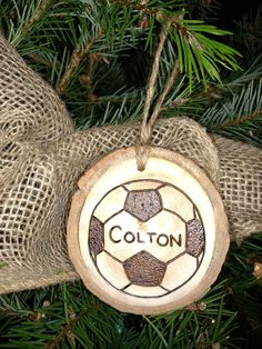 A personal favorite from my Etsy shop https://www.etsy.com/listing/260673788/custom-wood-burned-soccer-christmas