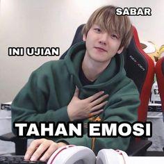 Bts Meme Faces, Memes Funny Faces, Funny Kpop Memes, Exo Memes, Cute Memes, Exo Stickers, Funny Tweets Twitter, K Meme, Nct