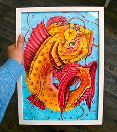 TimpeTe Original Malerei Zauberfisch A3 mit Rahmen von Hirnsägerei auf DaWanda.com