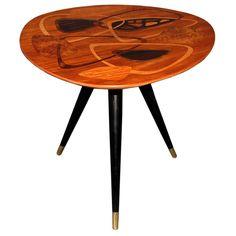 1stdibs | Swedish Mid-Century Modern Inlaid Teak Tripod Occasional Table