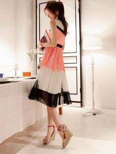 Hot Korean Fitted Chiffon Color Block Dress
