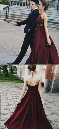 Prom Dresses Ball Gown, A-Line Halter Backless Burgundy Satin Prom Dress with Appliques, from the ever-popular high-low prom dresses, to fun and flirty short prom dresses and elegant long prom gowns. Prom Dresses 2018, Long Prom Gowns, Backless Prom Dresses, Evening Dresses, Semi Formal Dresses Long, Popular Dresses, Party Dress, Appliques, Halter Neck